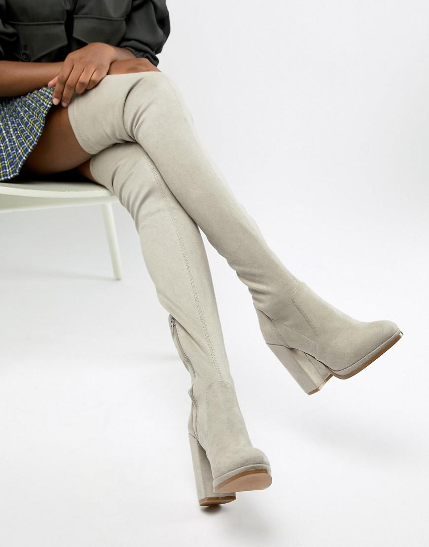 b3d2507a03c Lyst - ASOS Kassidy Heeled Thigh High Boots in Gray