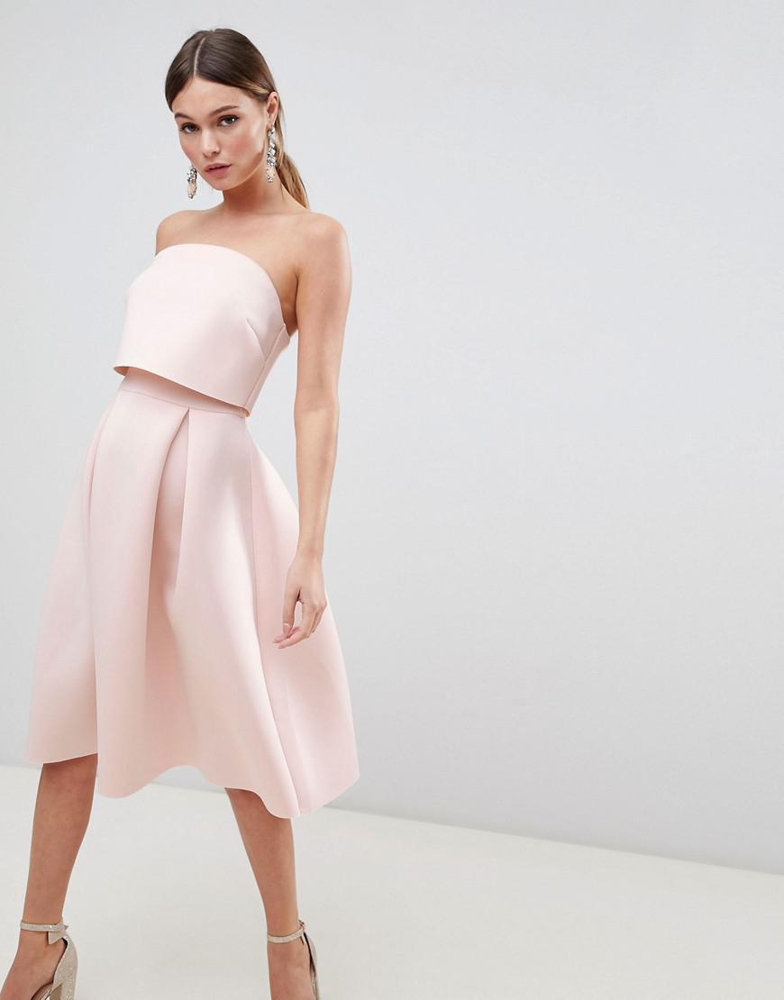 78aeb48c51c1f Lyst - ASOS Bandeau Crop Top Prom Midi Dress in Pink