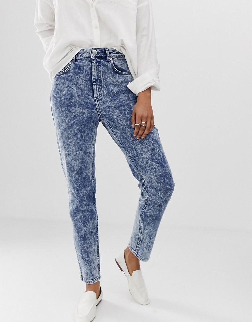 c1f8b2a3 ASOS - Recycled Farleigh High Waist Slim Mom Jeans In Bright Blue Acid Wash  - Lyst. View fullscreen