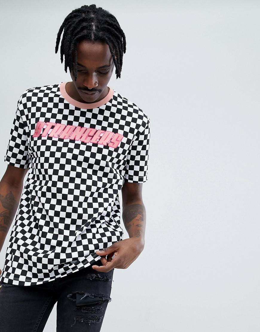 Bershka x fedez chequerboard printed t shirt in black and for Bershka fedez