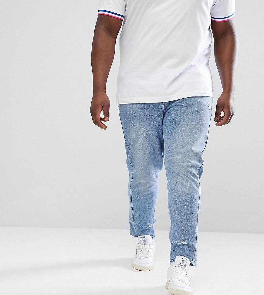 DESIGN Plus Skinny Twisted Seam Jeans In Light Wash Blue With Abrasions - Light wash blue Asos Outlet With Paypal Order Online Limited New Qms67Mh4kv