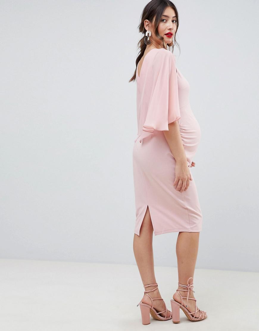 d04e26a41be74 ASOS Asos Design Maternity Woven Mix Cape Back Pencil Dress in Pink - Lyst