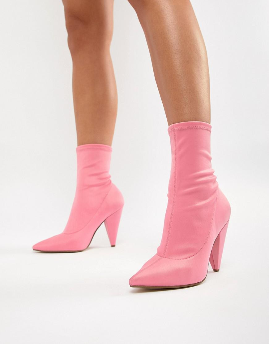 60f7413906a Lyst - ASOS Elope Pointed Sock Boots in Pink