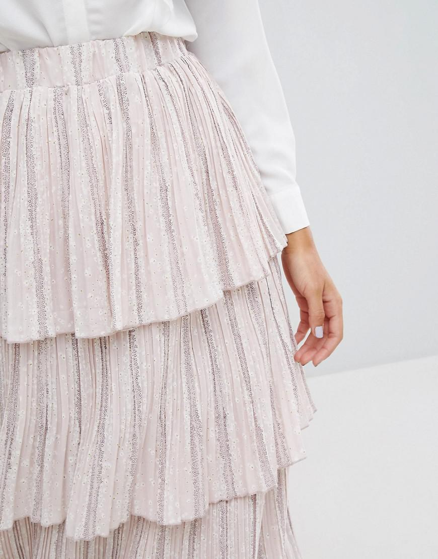 ff4e51cf1 Lost Ink Tiered Pleated Skirt in Pink - Lyst