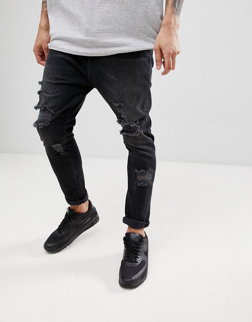 Conception, Plus Drop Jeans Entrejambe Lavés Noir Avec Rips Lourds - Lavé Asos Noir