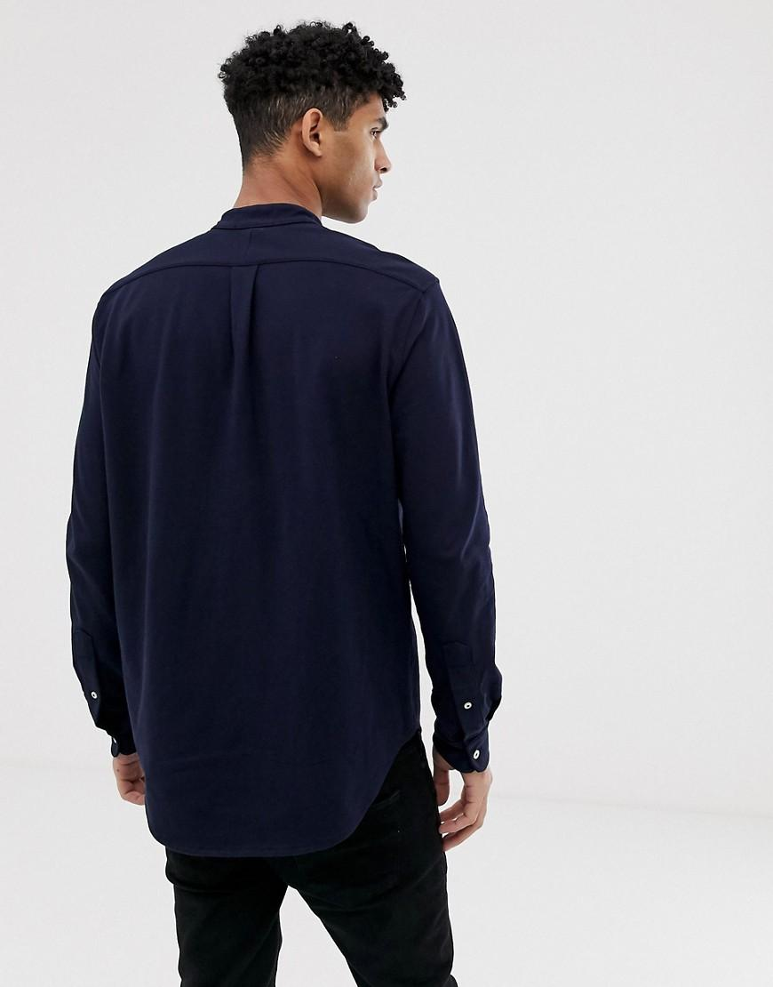 4ef3a97d Polo Ralph Lauren Player Logo Grandad Collar Pique Shirt Slim Fit In Navy  in Blue for Men - Lyst