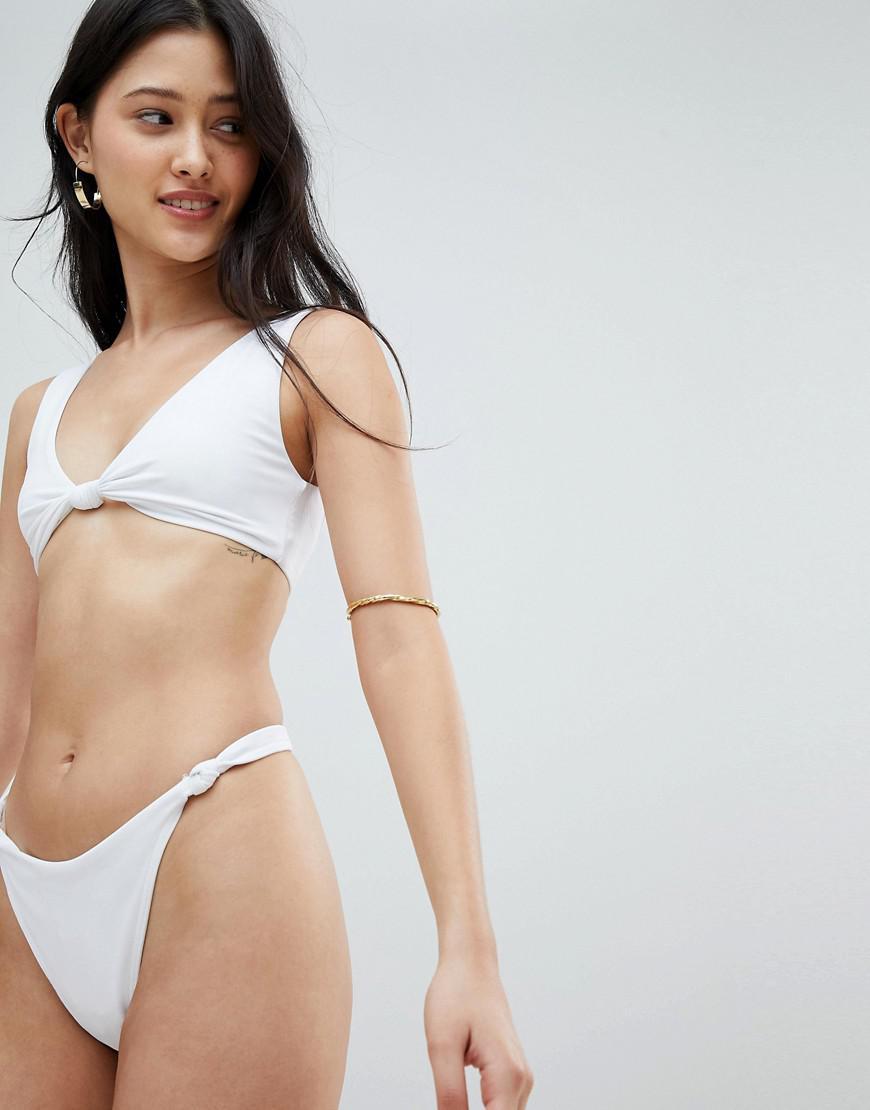 4f3f701aa223f Lyst - ASOS Recycled Knot Minimal High Leg Thong Bikini Bottom In ...
