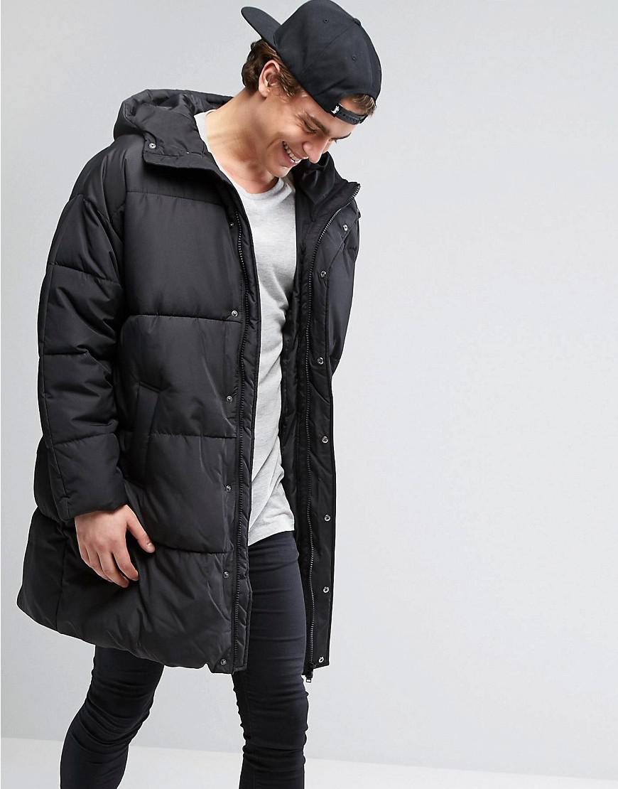 d6658672982 ASOS Puffer Jacket In Oversized Fit With Hood in Black for Men - Lyst