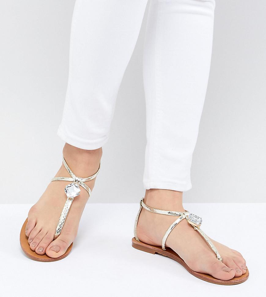 da6b134ae07581 Lyst - London Rebel Embellished Flat Sandals in Metallic