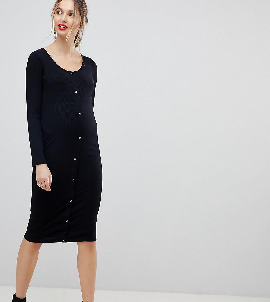 37b14f375a ASOS. Women s Black Asos Design Maternity Midi Long Sleeve Bodycon Dress  With Popper Front