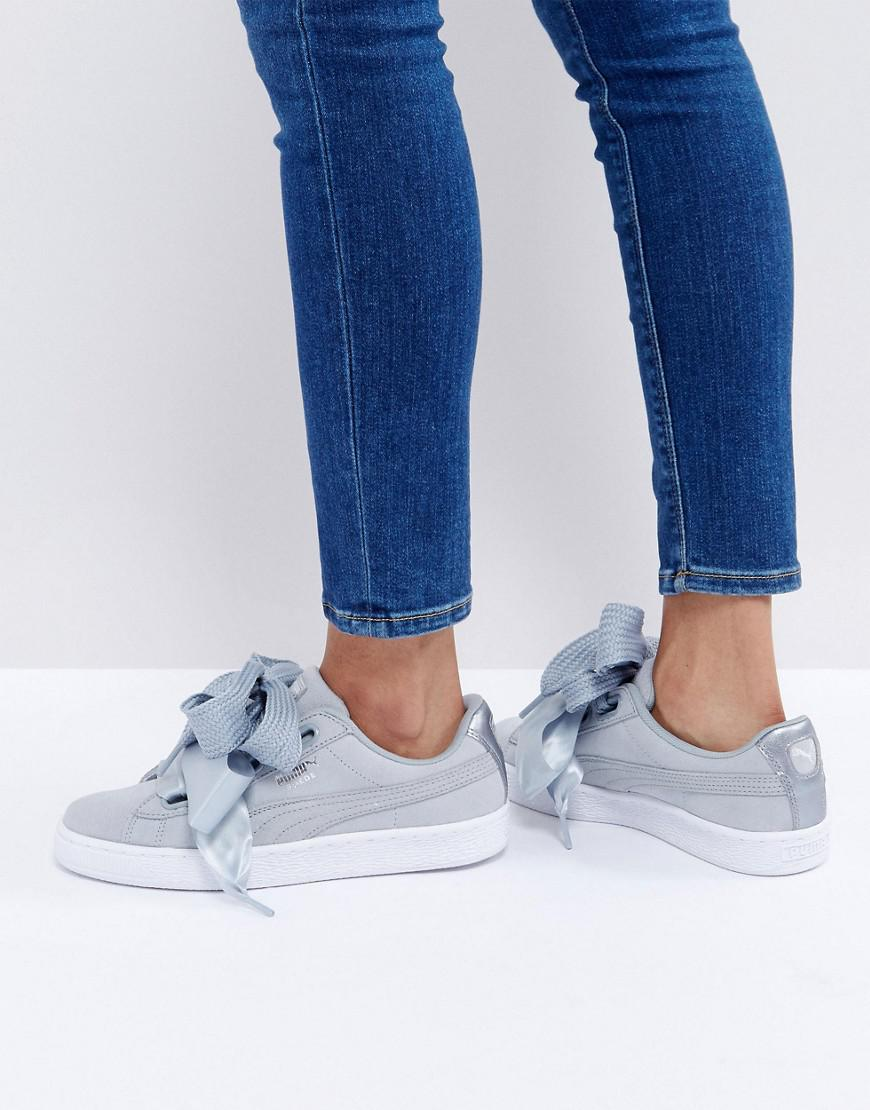 a52a611355d PUMA Basket Heart Sneakers With Metallic Trim In Gray in Gray - Lyst
