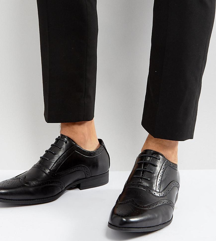 Asos Coupe Large Chaussures Richelieu En Noir - Noir OcBV4x