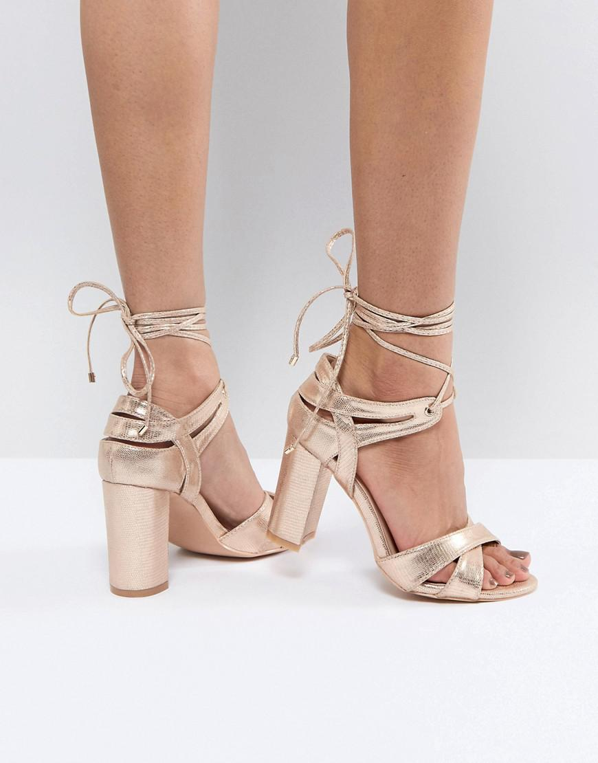 Block Heel Ankle Tie Heeled Sandals - Rose gold True Decadence OUOKMCI