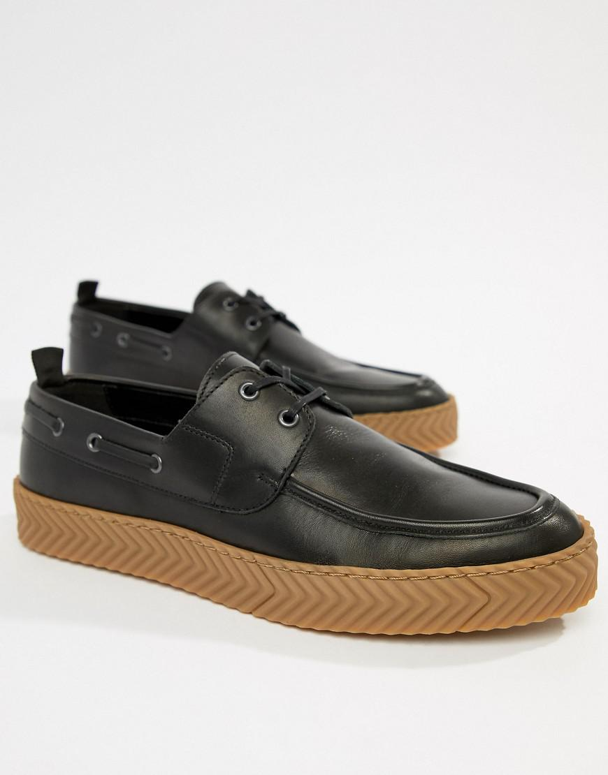 796dfee39a70 Lyst - ASOS Boat Shoes In Black With Gum Sole in Black for Men