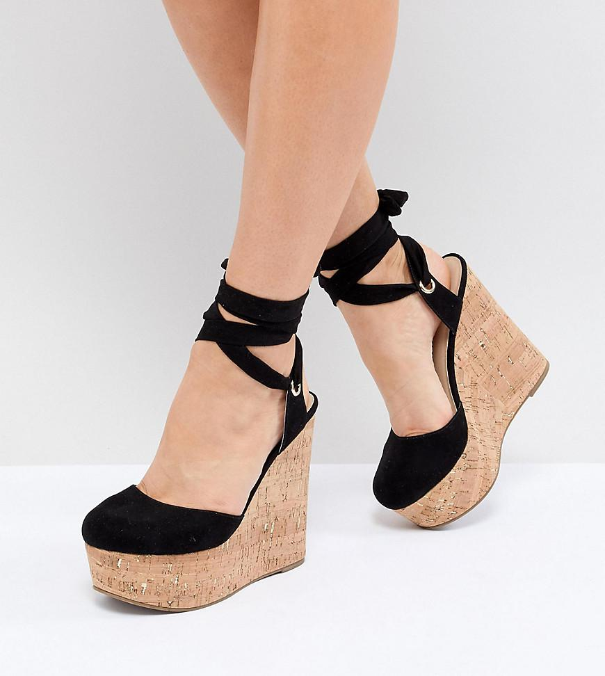 6b6ef3b1e05b ASOS - Black Tate Wide Fit High Wedges - Lyst. View fullscreen