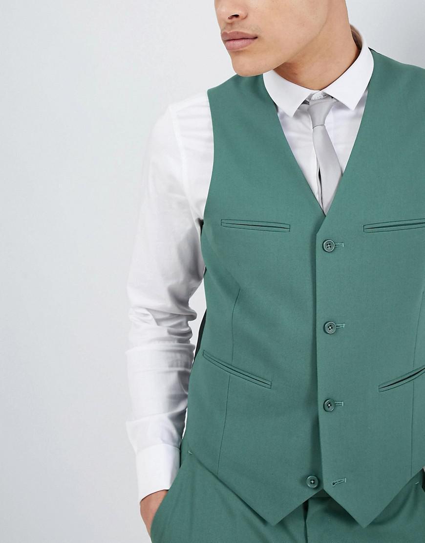 Lyst - Asos Design Wedding Slim Suit Waistcoat In Pine Green in ...