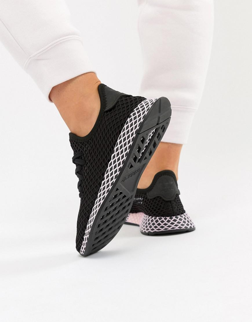 7d82ce4d9cb89 adidas Originals Deerupt Sneakers In Black And Lilac in Black - Lyst