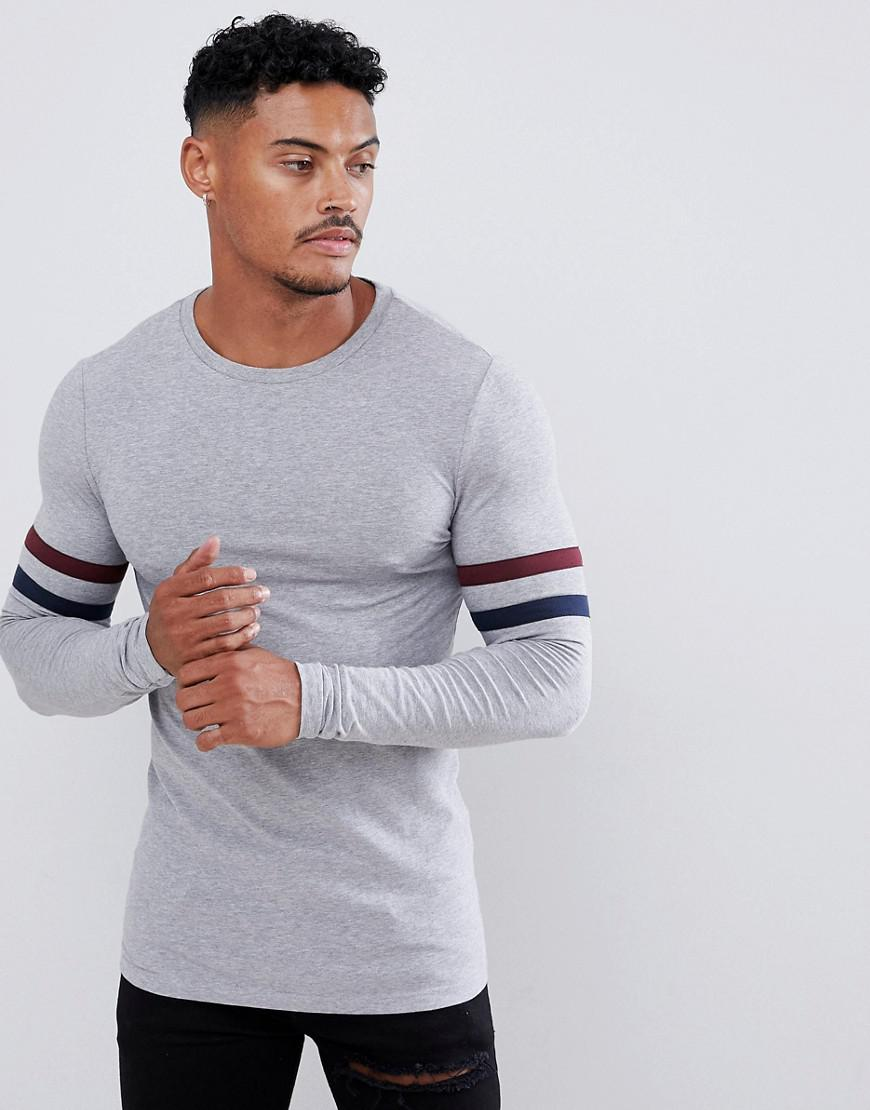 ae67f0546a09 ASOS. Men's Gray Organic Muscle Longline Long Sleeve T-shirt With Stretch  And Contrast Sleeve Stripe In Grey Marl