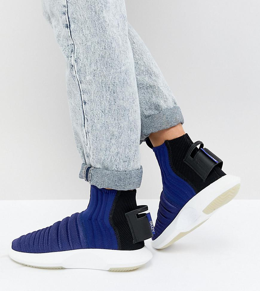 best website f3969 c13af adidas Originals. Womens Black Crazy 1 Adv Sock Primeknit Sneakers In Blue