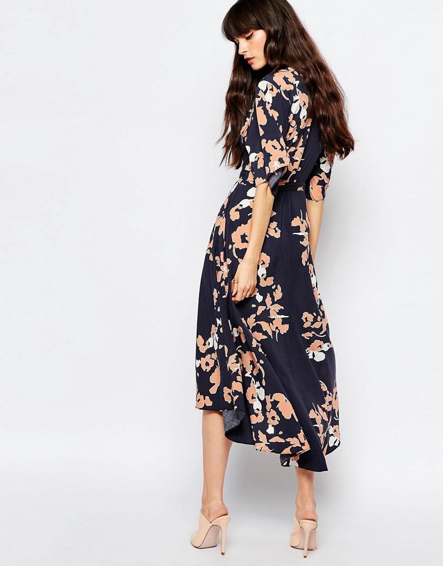 dae32c7a53d7 Lyst - Just Female Pen Wrap Midi Dress In Floral Print