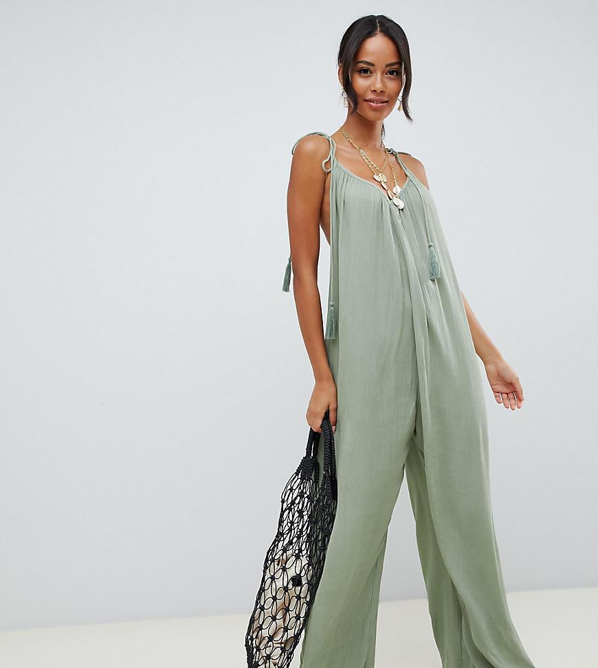 7435f0c8a049 ASOS. Women s Green Asos Design Tall Crinkle Low Back Beach Jumpsuit With  Tassel Ties In Khaki