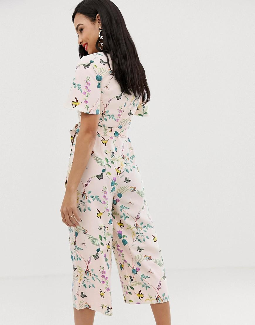 504943e97dd3 Lyst - Oasis Angel Sleeve Jumpsuit In Floral Print