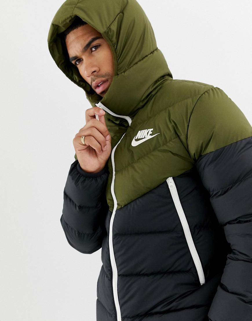 Nike Down Filled Hooded Jacket In Green 928833-395 in Green for Men ... 96c2bda96