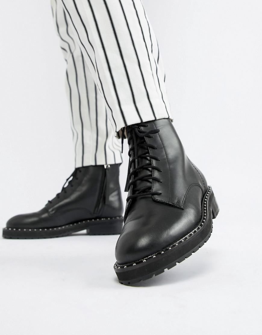 90e3564caaee Lyst - Office Attention Eyelet Chunky Black Leather Boots in Black