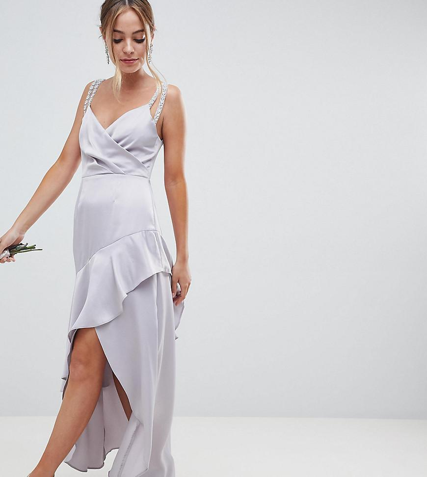 ASOS DESIGN Tall Bridesmaid pearl trim twist front maxi dress - Grey Asos Tall rSP4mS