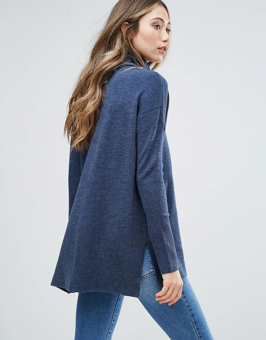 French connection Baby Soft Cowl Neck Sweater in Blue | Lyst