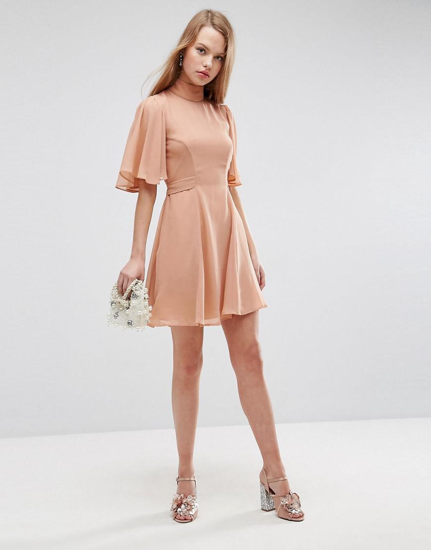 b6001b815856 ASOS Asos High Neck Flutter Sleeve Open Back Mini Dress in Pink - Lyst