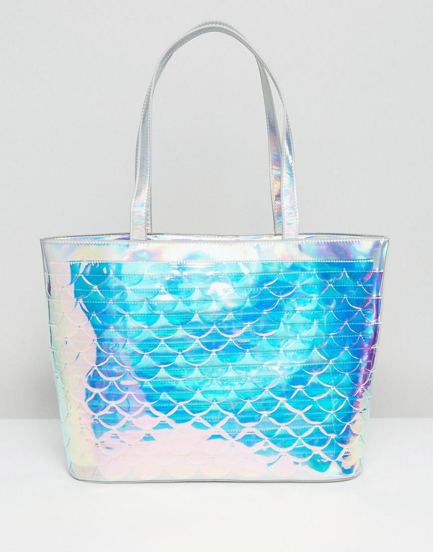 Skinnydip London Iridescent Scale Sequin Tote Bag In Blue
