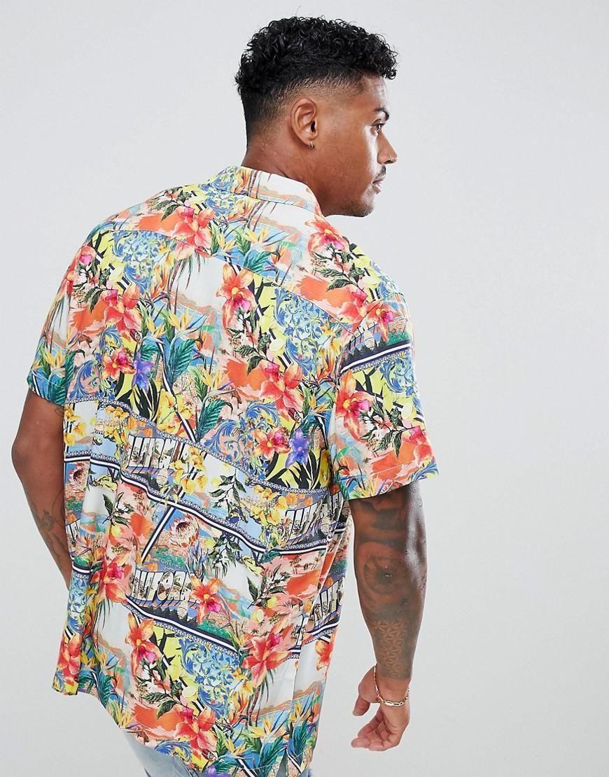 9805a4f43 ASOS Relaxed Hawaiian Floral Postcard Print Shirt With Revere Collar in  Blue for Men - Lyst