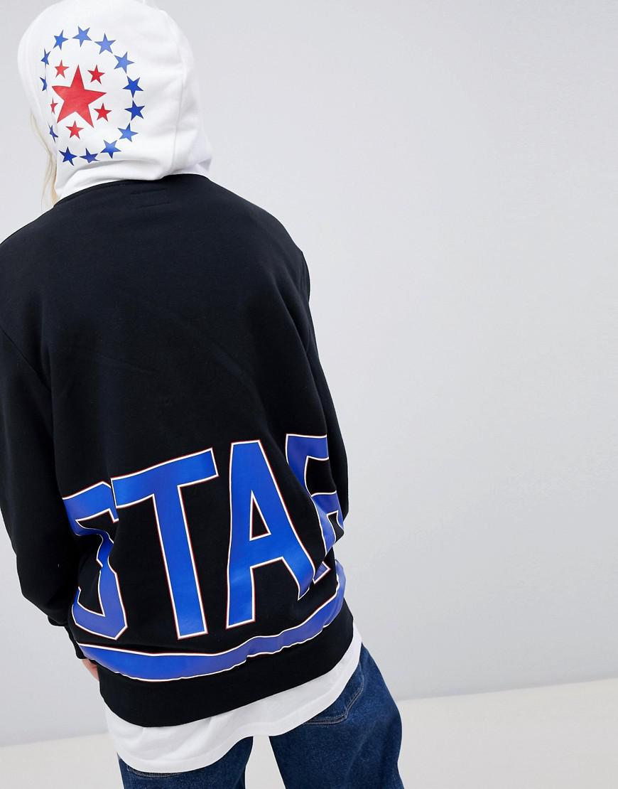 8883a16dc9fb Lyst - Converse Exclusive One Star Boyfriend Fit Hoodie In Black With Logo  in Black