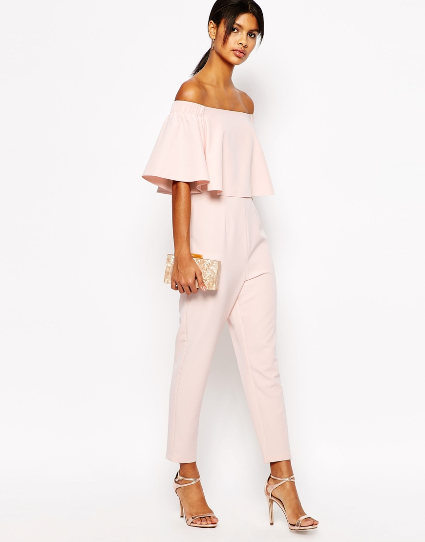 ca1860092e6 Lyst - ASOS Tall Jumpsuit With Ruffle Bardot in Pink