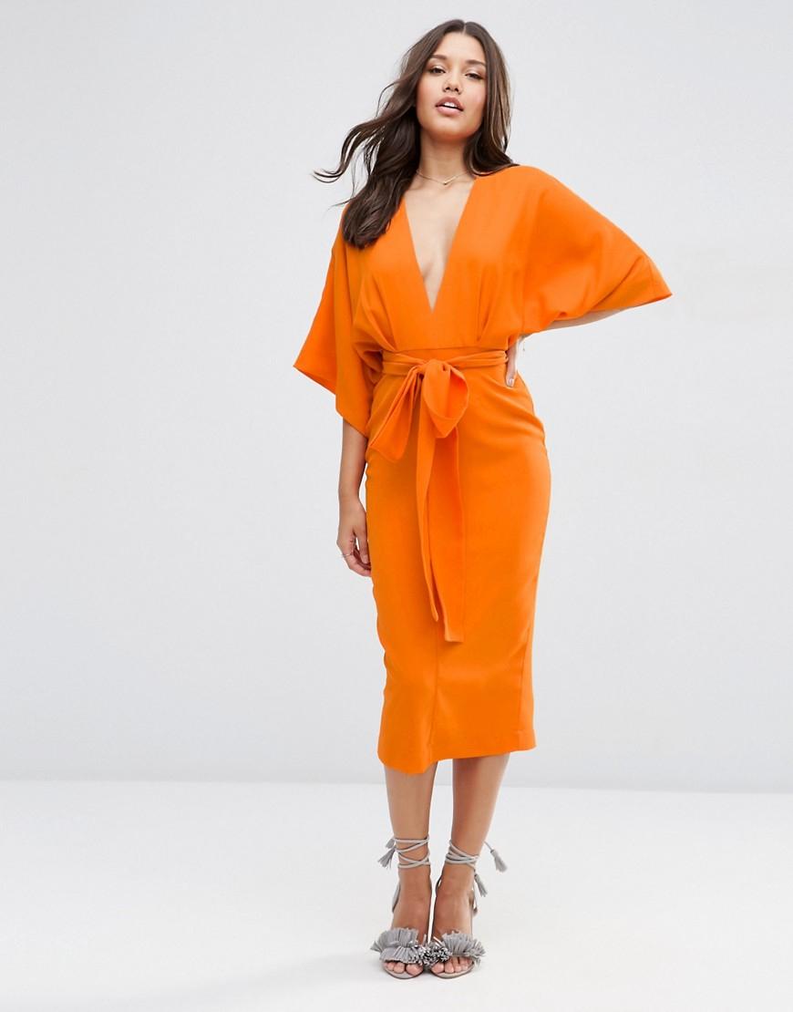 Asos Kimono Deep Plunge Midi Dress - Orange in Orange | Lyst