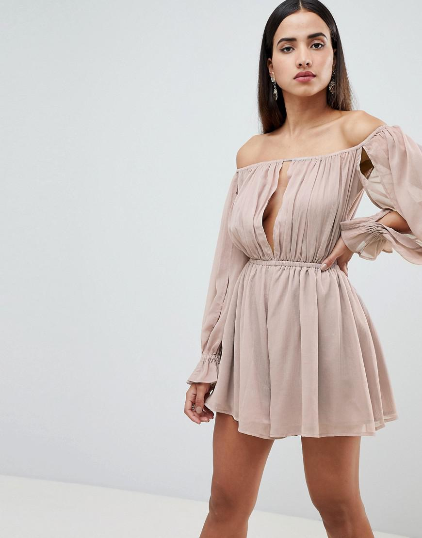 590d32b18a ASOS - Natural Off Shoulder Romper With Cut Out Detail - Lyst. View  fullscreen