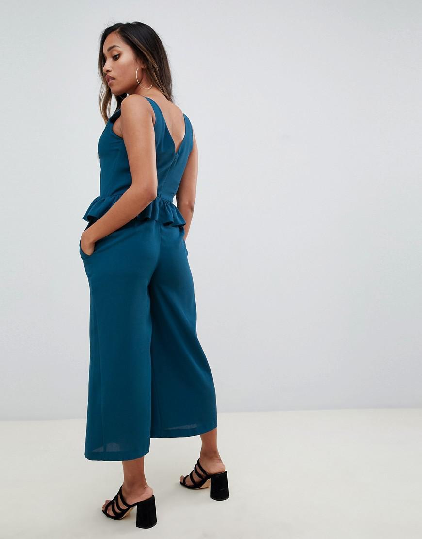 5b09d601d78 Asos Asos Design Petite Frill Hem Cami Jumpsuit in Green - Lyst
