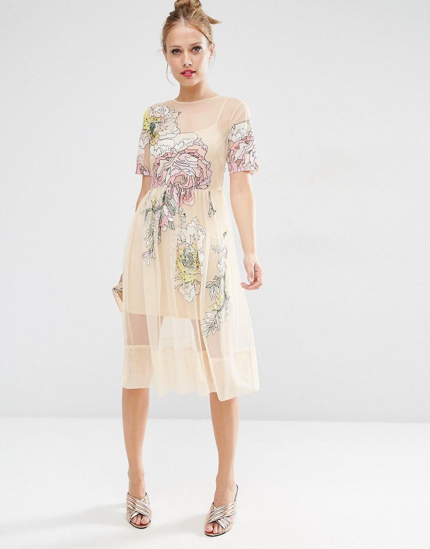 bd4c2d0c42 Asos Salon Embroidered Floral Mesh Midi Dress – DACC