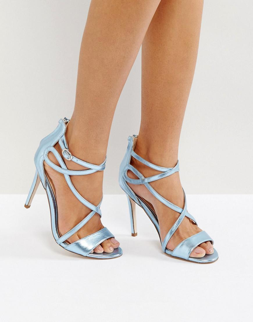 9eee3efdcda Miss Kg Fiesta Metallic Strap Heeled Sandals in Blue - Lyst