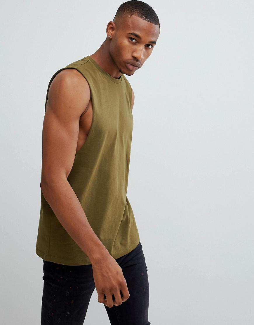 7098ed6f3a9fd Lyst - ASOS Relaxed Sleeveless T-shirt With Dropped Armhole In Green ...