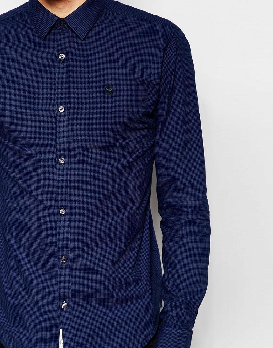 Lyst original penguin shirt in heritage fit in blue for men for Golf shirt with penguin logo