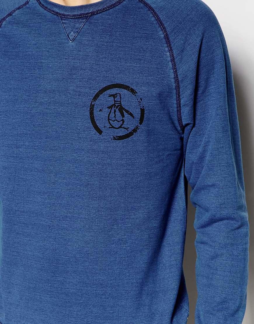 Original penguin crew neck logo sweater in blue for men lyst for Golf shirt with penguin logo