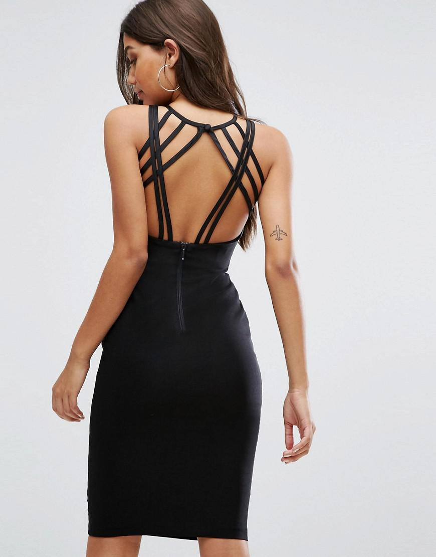 08e840ccd56 Vesper - Strappy Back Midi Dress In Black - Lyst. View fullscreen