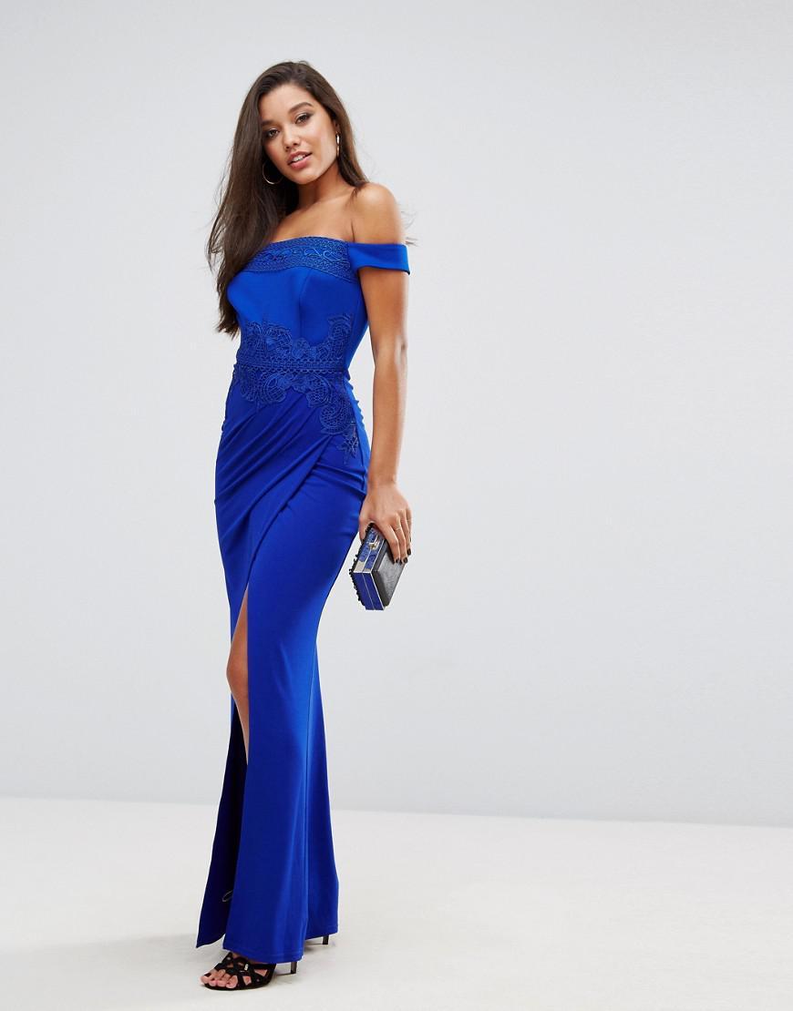 9b6e10697ebf Lipsy Off Shoulder Maxi Dress With Lace Trim in Blue - Lyst