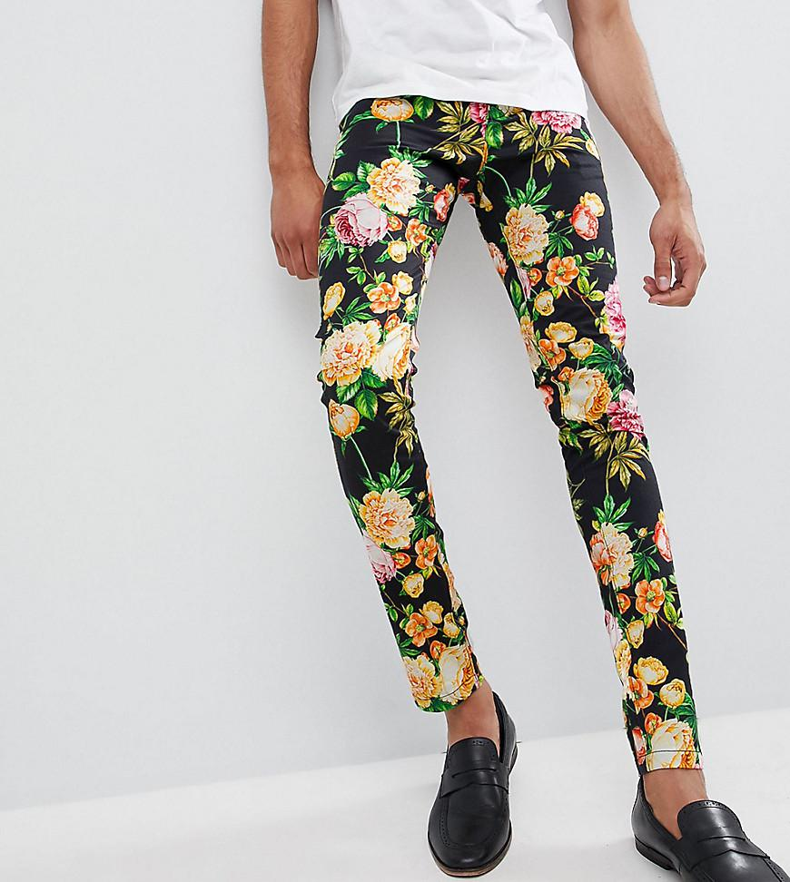 DESIGN Tall Super Skinny Trousers In Navy Floral Print - Navy Asos cLcM9U