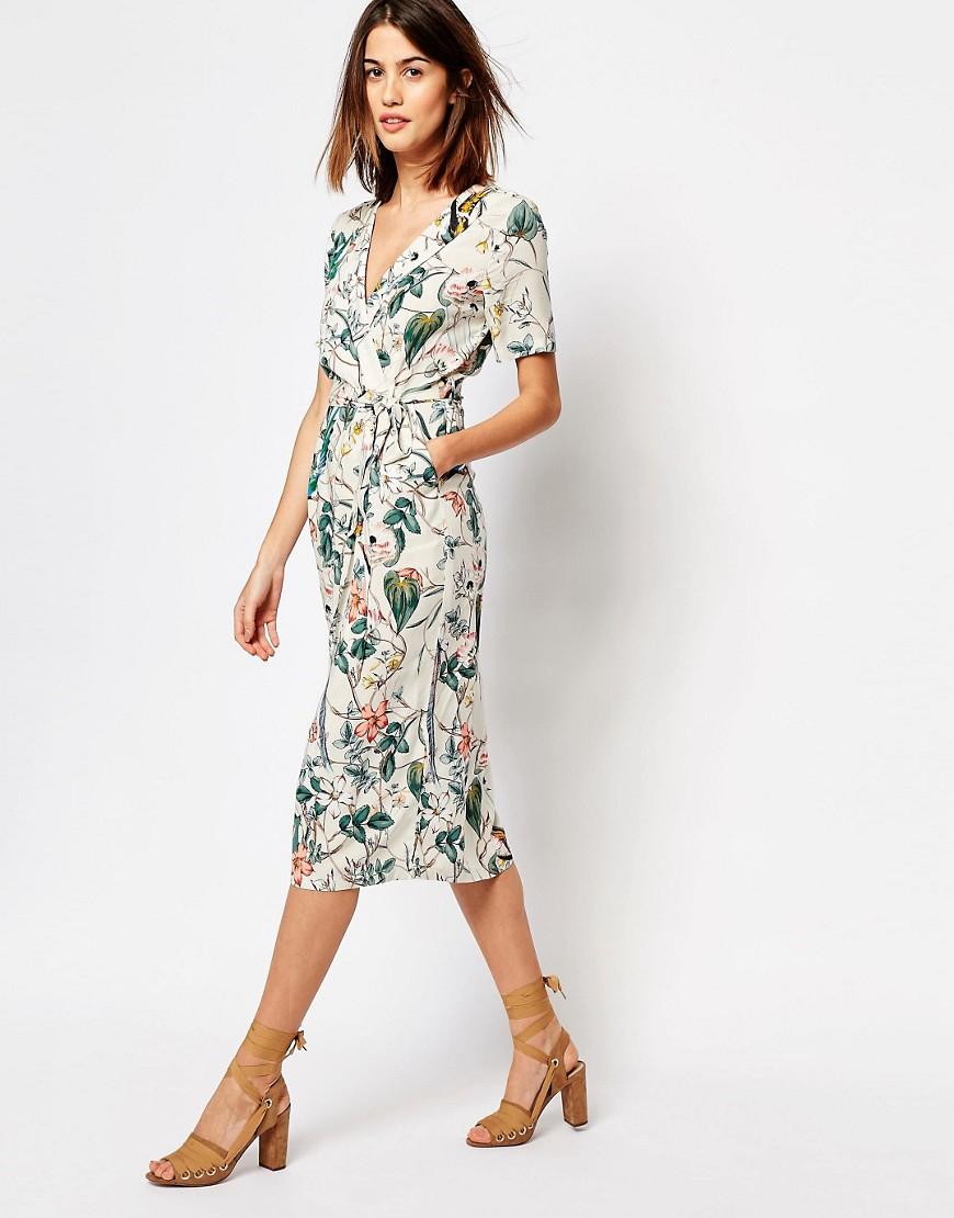 Warehouse Bird Print Dress