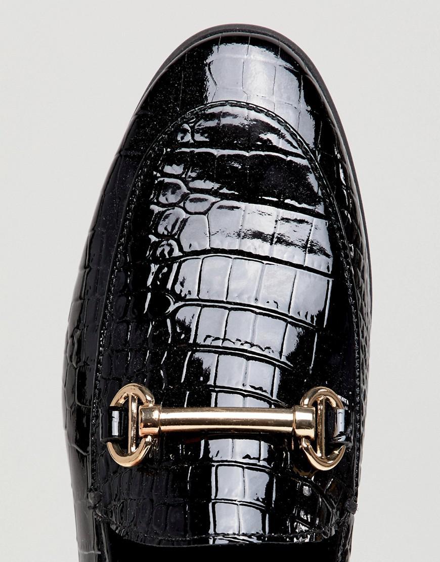 49af478430256 Dune London Guilt Leather Black Croc Loafer Shoes With Snaffle Trim ...