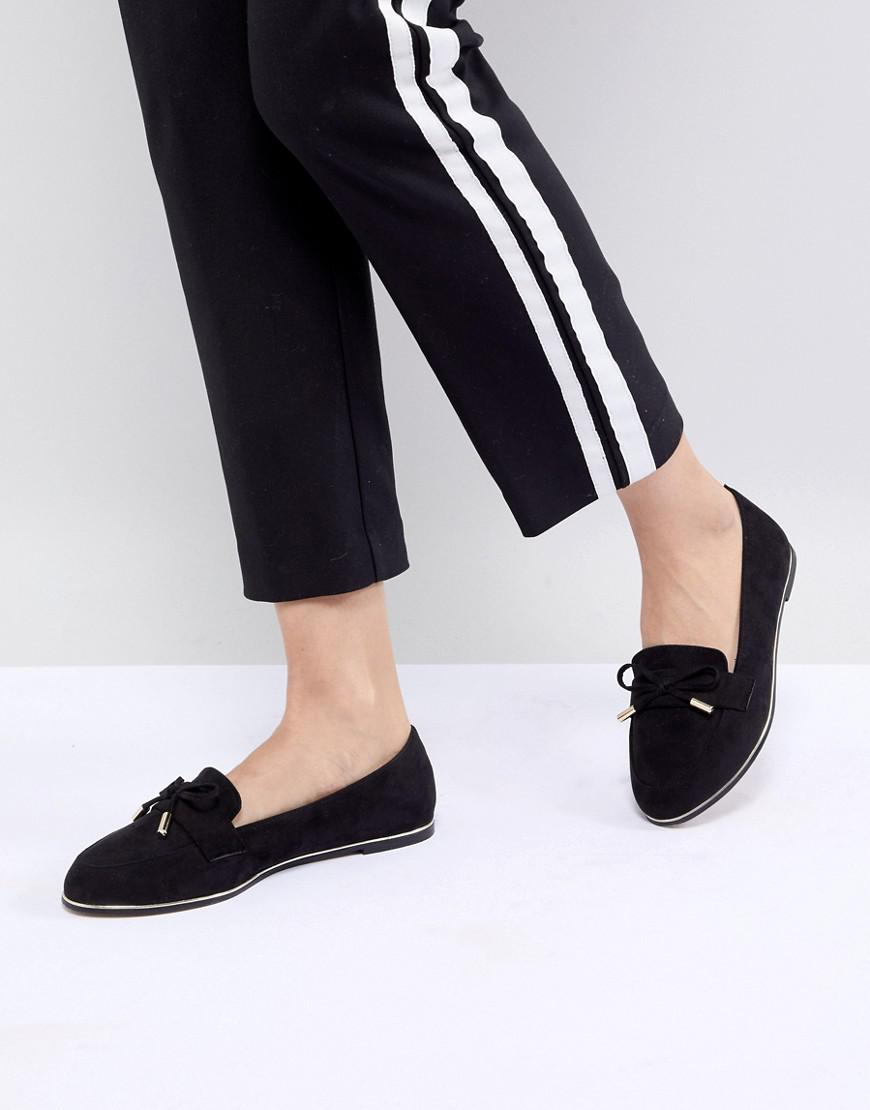 DESIGN Mossy Wide Fit Flat Shoes - Black Asos vcTEIc