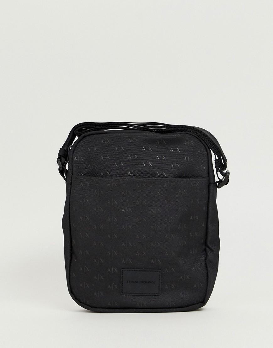 Armani Exchange Nylon All Over Logo Flight Bag In Black in Black for ... 21abcdf2c59ae